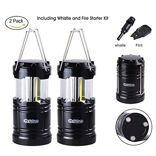 Camping Lantern, LED Lantern Lights with Magnetic Base 2 Pack Portable Camping Gear Collapsible COB Water Resistant Survival Kit for Emergency Hurricane