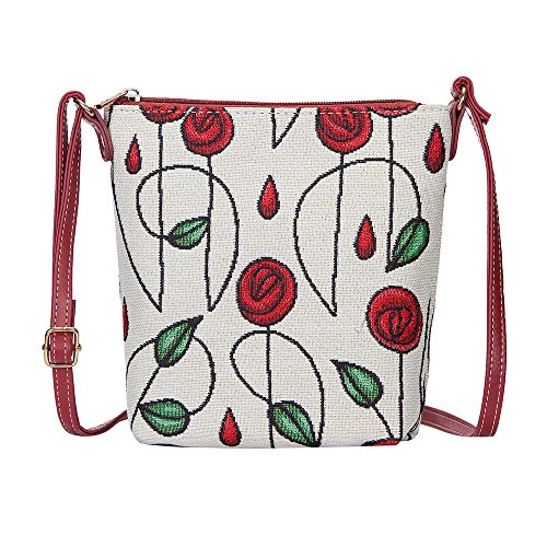 (Charles Rennie Mackintosh Rose Art Nouveau Small Cross Body Bag for Women/Sling Crossbody bag by Signare/SLING-RMSP)
