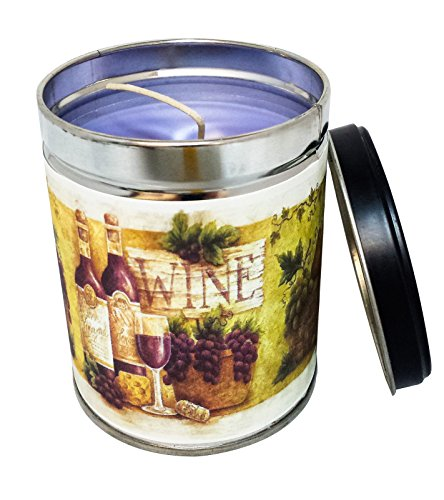 Tuscan Vineyard Scented Candle in 13 Ounce Tin with Vintage Wine Bottles Label By Our Own Candle Company (Scented Wine Candles)