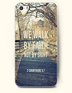We Walk By Faith Not By Sight 2 Corinthian 5:7 - Bible Verses - iPhone 5 / 5s Hard Back Plastic Yellow