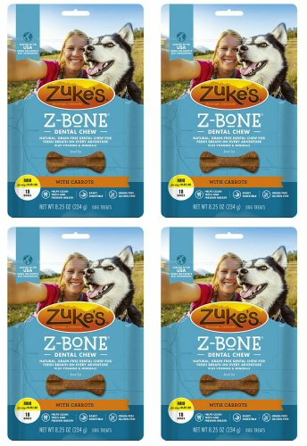 Zuke's Z-Bones Edible Dental Chews, Mini, Carrot Crisp, 18 Count (Pack of 4)