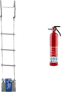 First Alert Two-Story Fire Escape Ladder, Steel, Anti-Slip, EL52-2, Black & FE1A10GR195 Standard Home Fire Extinguisher, Red