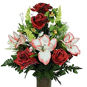 Red Open Roses with Amaryllis Artificial Bouquet, featuring the Stay-In-The-Vase Design(c) Flower Holder (MD1454) 94