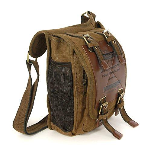 Umhängetasche khaki, braun Crossover Body Bag Schultertasche Freizeittasche Canvas Tasche Manoro® Vintage and Vogue OTK210N