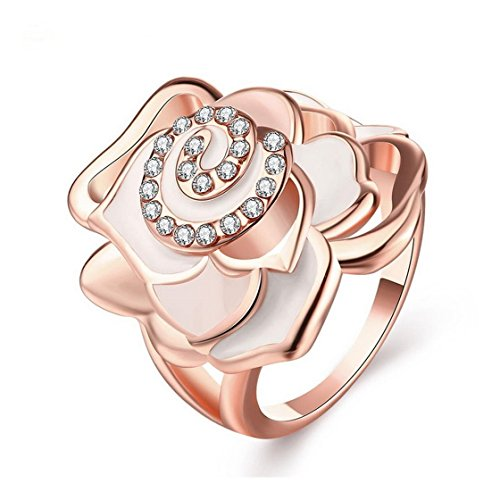 [PSRINGS Stylish Costume Jewelry Elegant 18k Rose Gold Plated Statet Cocktail Crystal Big Rose Flower] (Ninja Turtle Nose Costume)