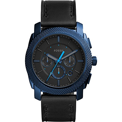 Fossil Men's 'Machine' Quartz Stainless Steel and Leather Casual Watch, Color:Black (Model: FS5361) by Fossil