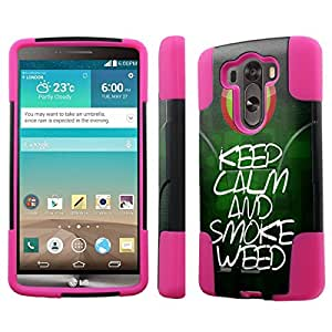 [NakedShield] LG G3 [Keep Calm Smoke Weed] Armor Tough Shock Proof KickStand Black/Hot Pink Phone Case