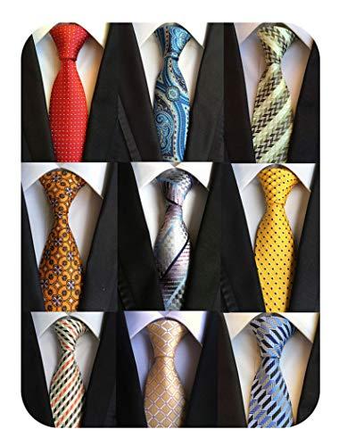 Welen Lot 9 PCS Classic Men's Tie Necktie Woven JACQUARD Neck Ties, Asst. Colors, One Size (Style 03) ()