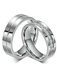 Fashion CZ Diamond Stainless Steel Wedding Ring For Lovers Couples Rings Set Men Women Engagement Promise Rings Free Engraving