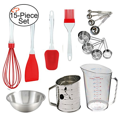 Tiger Chef Stainless Steel 15-Piece Baking Utensil Set Mixing Bowl Set with measuring cups and spoons set, 3-Cup Crank Sifter, Liquid Measuring Cup, Silicone Spatula, Whisk, Basting Brush (Red)