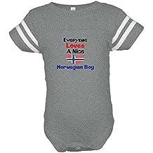 Cute Rascals Loves Norwegian Boy Norway Norwegians Baby Sports Bodysuit Football Jersey