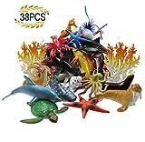 LUCCK Ocean Sea Animal, Assorted Mini Sea Creatures Toys Set, Realistic Underwater Sea Animals Figure Bath Toy, 38 Pieces Set