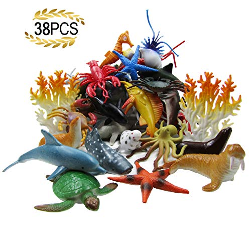 HAFUZIYN Ocean Sea Animal, Assorted Mini Sea Creatures Toys Set, Realistic Underwater Sea Animals Figure Bath Toy, 38Piece Set ()