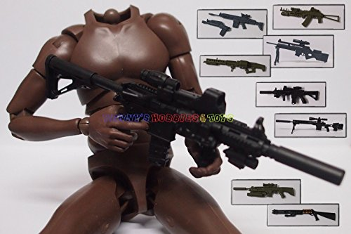 "1 x New Set of Long Gun 1:6 Scale (8 Different Heavy Guns) For 12"" Action Figure"