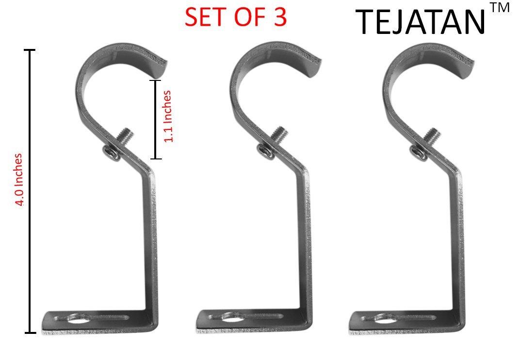 Curtain Rod Brackets - Black (Set of 2) (Also known as - Curtain rod Holder / Curtain rod Bracket / Bracket for Drapery rod / Brackets for curtains rod) TEJATAN TEJATAN1