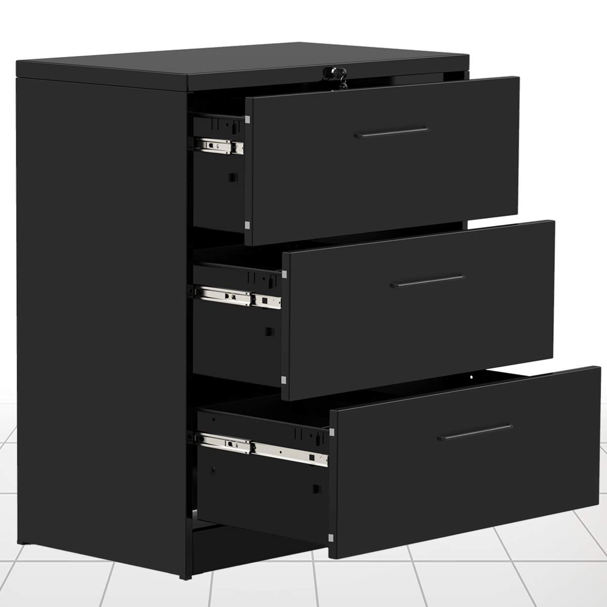 3 Drawers lateral File Cabinet 2 Drawer Locking Filing Cabinet 3 Drawers Metal Organizer Heavy Duty Hanging File Office Home by Modern Luxe