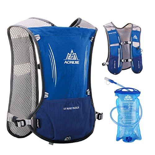 TRIWONDER Hydration Pack Backpack 5L Marathoner Running Race Hydration Vest (Blue – with 1.5L Water Bladder)