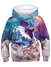 Sucor Girls 3D Galaxy Hoodies for Kids Cool Pullover Sweatshirt Sweater Outwear