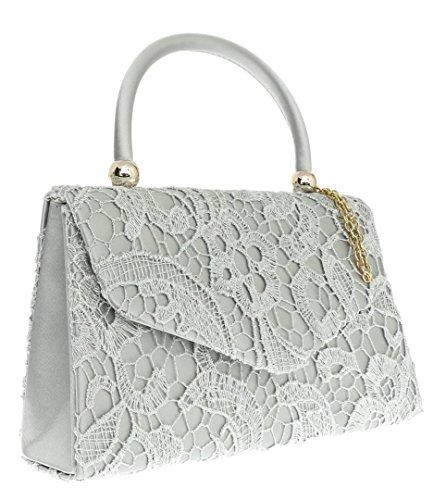Cartera Para Mano Mujer Girly Plateado De Plata Handbags vzpxwUA