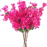 jiumengya 5pcs Bougainvillea Glabra Artificial Floor Mounted Fake Bougainvillea Flower for Wedding Centerpieces Decorative Flowers (hot Pink)