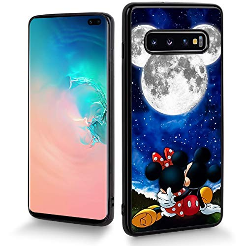 DISNEY COLLECTION Cartoon Cute Phone Case Fit for Samsung Galaxy S10+(6.4 inch) Mickey with Minnie Moonlight Bumper Shockproof Protective Black -