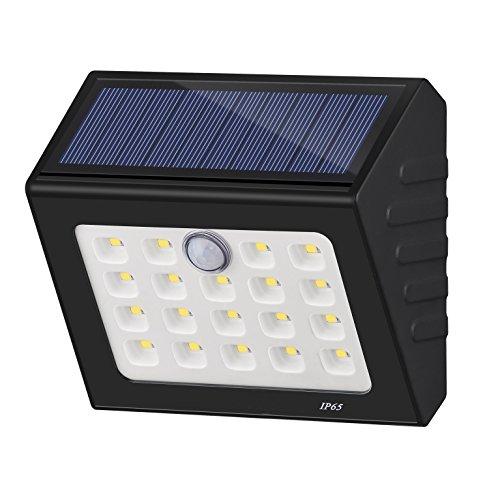 D2U Solar Motion Sensor Light Outdoor,19 LED Wall Light Solar Powered Garden Light, Waterproof Wireless Security Lights for Step,Fence,Gate,Yard or Driverway (ON/OFF Mode) (Black)