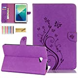 Galaxy Tab A 10.1 with S Pen Case, Dteck Slim Folio Flip Stand Premium Leather Emboss Butterfly Flower Case with Card Slots Cover for Samsung Galaxy Tab A 10.1' with S Pen P580 - Purple