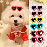 ONE2T 30pcs/pack New Dog Hair Clips Love Design Sunglasses Style Cute Dog Pet Hair Clips Mix Colors and Cute Bowknot