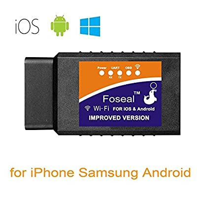 Foseal 【Improved Version Car WiFi OBD2 Scanner OBDII Scan Code Reader Adapter Check Engine Light Diagnostic Tool iOS & Android Work App inCarDoc, OBD Fusion, Torque: Automotive