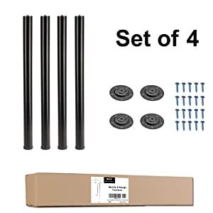 "QLLY 28 Inches Height Tall Metal Desk Legs, Adjustable(+1"") Office Table Furniture Leg Set, Set of 4 (Black)"