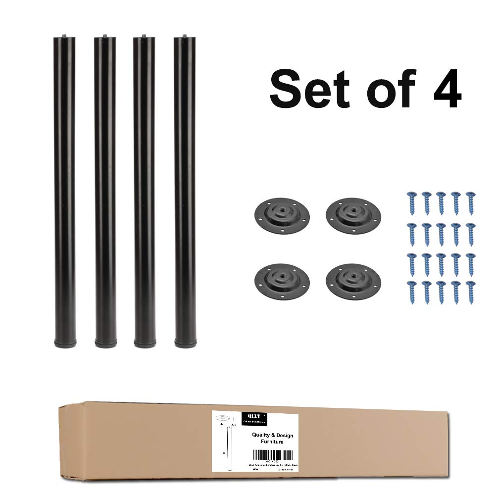 """QLLY 28 Inches Height Tall Metal Desk Legs, Adjustable(+1"""") Office Table Furniture Leg Set, Set of 4 (Black) by QLLY (Image #1)"""
