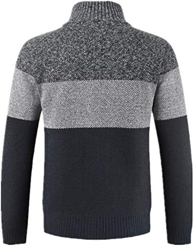 MENAB kurtka dziergana męska sweter bluzka w paski, wiatrÓwka, gruby zamek błyskawiczny, ciepła odzież wierzchnia, płaszcz, zimowa kurtka z dzianiny, kardigan, drobno tkana, ze stÓjką i