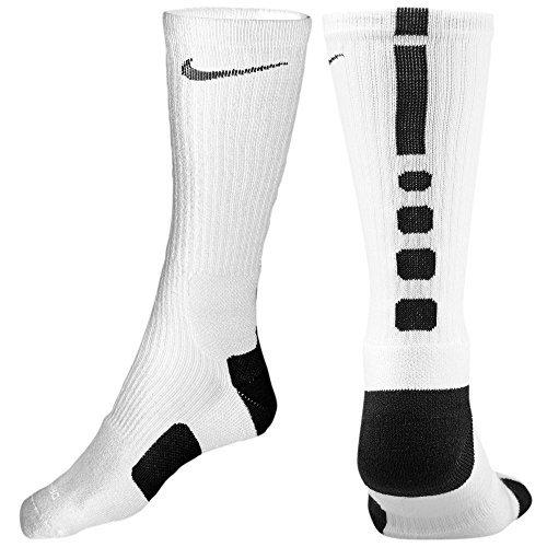 Nike Elite Basketball Crew Socks (White/Black, Medium)