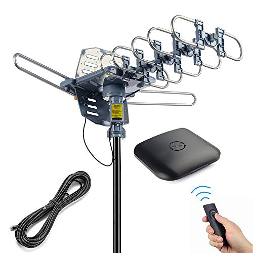 pingbingding Outdoor Digital HD TV Antenna 150 Miles Motorized 360 Degree Rotation with 40FT RG6 Coax Cable - UHF/VHF / 1080P / 4K Snap-On Installation