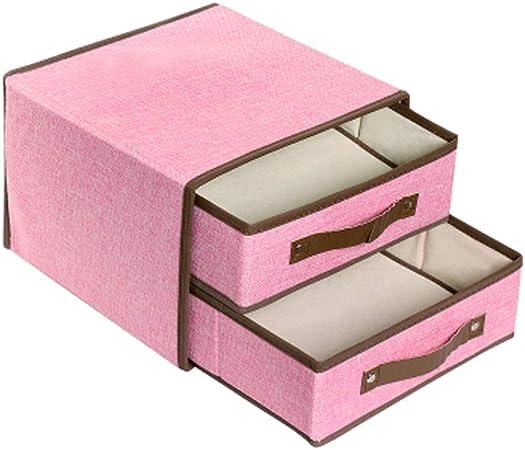 Caja de Almacenamiento de Tela no Tejida Caja de Almacenamiento de Dos Capas Plegable de algodón y Lino - tamaño (28 * 28 * 20cm): Amazon.es: Hogar