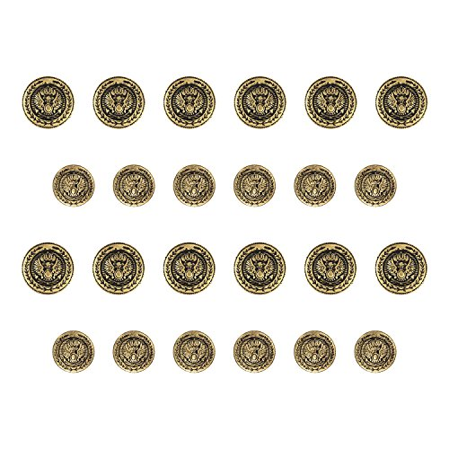 ButtonMode BN924/30AG Presidential Design Metal Blazer Buttons, Antique Gold Color Metal, 15mm and 19mm (0.59 and 0.75 Inch) 24-Buttons (12 Front, 12 Sleeve) Presidential Button