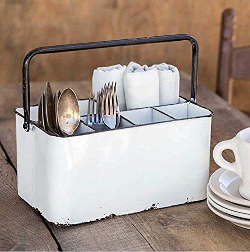 Distressed White Cutlery Caddy with Carrying Handle