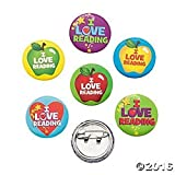 "48 Metal ""I Love Reading"" Mini Buttons Pins Kids Read Books Home School Library"