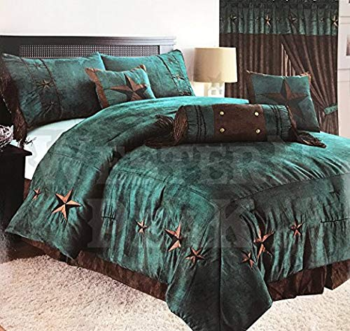 (Western Peak Oversize Embroidery Texas Western Lone Star Micro Suede Comforter Bedding 7 Piece Set Shams Bed Skirt (Oversize King, Brown Turquoise))