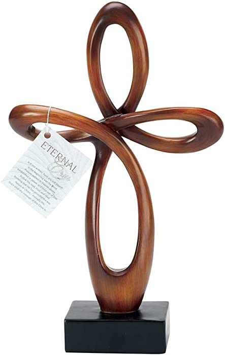 "Dicksons Resin Tabletop Cross with Brown Finish - 12"" High"