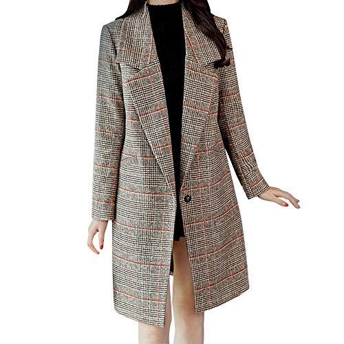 JOFOW Woolen Plaid Jacket Autumn Coat Womens Long Casual Lapel Collar Straight A line Slim Cardigans Fashion (M,Khaki)