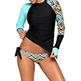 Anmengte 2 Pcs Women's Swimsuit Rash Guard Long Sleeve Tankini UV Sun Protection Athletic Cover up Swimwear