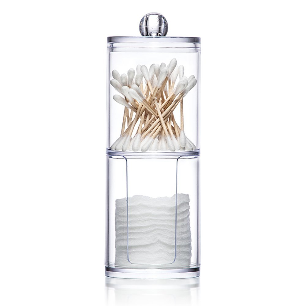 Acrylic Swab Storage Dispenser Holder Clear Makeup Organizer Cotton Bud Holder Container Cosmetic Storage Box with Lid GDEER