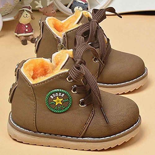 Baby PU Leather Boots,Toponly Toddler Winter Baby Boys Girls Leather Rubber Warm Shoes Anti-Slip Army Style Martin Boots (Fashion Khaki, 12-18M)