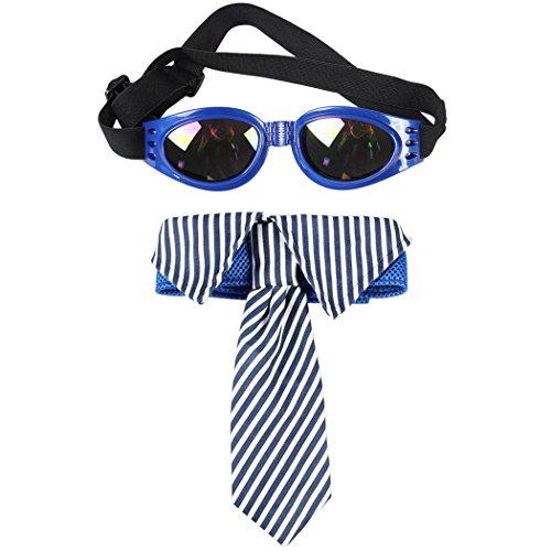 Pet Necktie, Legendog Dog Necktie Adjustable Striped Dog Bow Tie with Pet - Ties Sunglass