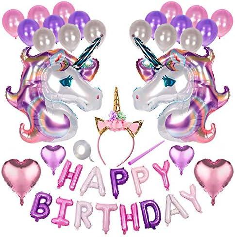 バースデー バルーン 誕生日 風船 装飾 デコレーション ユニコーン 角カチューシャ ハート アルミバルーン HAPPY BIRTHDAY 女の子 男の子 女性 zak-bdayballon01