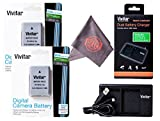 2 Pack of Vivitar EN-EL14 / EN-EL14a Ultra High Capacity 2300mAh Li-ion + Dual Battery Charger + Microfiber Lens Cleaning Cloth EL14 ENEL14 (Nikon EN-EL14 Replacement)