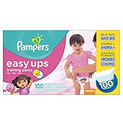 Pampers Easy Ups Training Pants Diapers for Girls, Value Pack, Size 2T3T, 100 Count