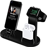 OLEBR Apple Watch Stand Apple Watch Charging Stand AirPods Stand Charging Docks for Apple Watch Series 3/2/1/AirPods/iPhone X/8/8Plus/7/7 Plus/6S/6S Plus/iPad-Black