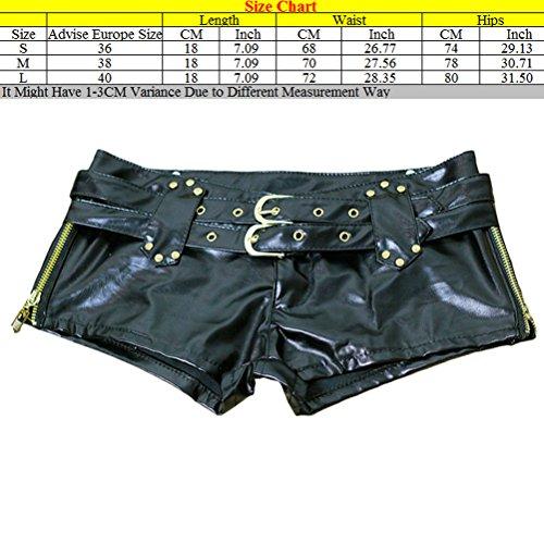 Zhhlinyuan Casual Fashion Ladies JAZZ PU Leather Shorts Pants Slim Fit Shorts Alta calidad for Women Black